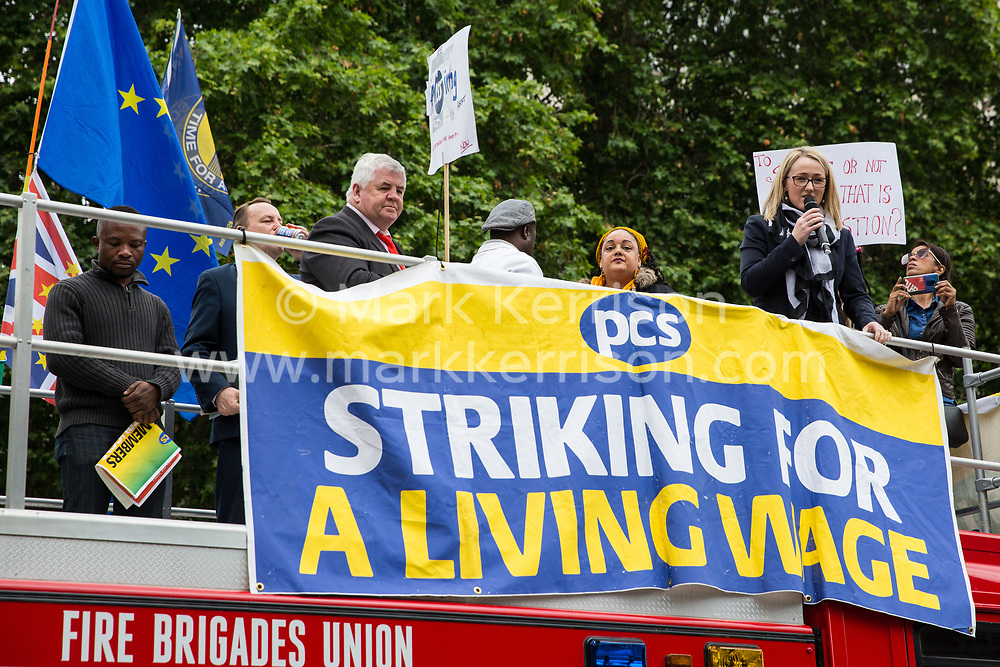 London, UK. 19 June, 2019. Shadow Business Secretary Rebecca Long-Bailey addresses outsourced catering, security, postal, porter and cleaning staff belonging to the Public & Commercial Services Union (PCS) and working at the Department for Business, Energy and Industrial Strategy (BEIS) via contractors ISS World and Aramark at a rally outside Parliament on the third day of continuing industrial action for the London Living Wage, terms and conditions comparable to the civil servants they work alongside and an end to outsourcing.