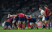 Twickenham, England. Danny CARE with the ball stands with Rory KOCKOTT waiting for the ref's instruction.  QBE International. England vs France [World cup warm up match]  Saturday.  15.08.2015,  [Mandatory Credit. Peter SPURRIER/Intersport Images].