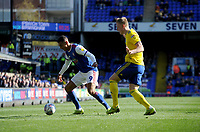 Ipswich Town's Kayden Jackson battles with Birmingham City's Kristian Pedersen<br /> <br /> Photographer Hannah Fountain/CameraSport<br /> <br /> The EFL Sky Bet Championship - Ipswich Town v Birmingham City - Saturday 13th April 2019 - Portman Road - Ipswich<br /> <br /> World Copyright © 2019 CameraSport. All rights reserved. 43 Linden Ave. Countesthorpe. Leicester. England. LE8 5PG - Tel: +44 (0) 116 277 4147 - admin@camerasport.com - www.camerasport.com