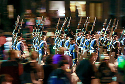 13 Feb 2015. New Orleans, Louisiana.<br /> Mardi Gras. Military Academy marches with Krewe D'Etat makes  along Magazine Street.<br /> Photo; Charlie Varley/varleypix.com