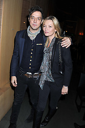 "KATE MOSS and JAMIE HINCE at a party to celebrate the launch of Meg Matthews' blog - ""Meg says"" at the bar at Ni Ju San, 23 St.James's Street, London on 1st December 2011."