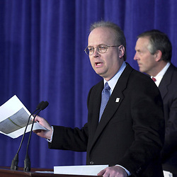 Austin, Texas 09NOV00:  Press Conference in Austin where Bush campaign chairman Don Evans and chief strategist Karl Rove (blue tie) discuss election results as ballot re-counting continues in Florida. © Bob Daemmrich