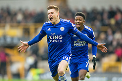 January 19, 2019 - Wolverhampton, England, United Kingdom - Harvey Barnes of Leicester City celebrates after scoring the equalizer with Demarai Gray of Leicester City during the Premier League match between Wolverhampton Wanderers and Leicester City at Molineux, Wolverhampton, UK. On Saturday 19th January 2019. (Credit Image: © Mark Fletcher/NurPhoto via ZUMA Press)