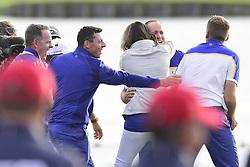 September 30, 2018 - Guyancourt, France, France - ioie des joueurs Europeens apres la victoire de Thorbjorn Olesen of Denmark  (Credit Image: © Panoramic via ZUMA Press)