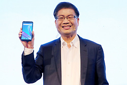 April 23, 2018 - New Delhi, India - Jerry Shen, CEO, ASUS, Larry Paulson, Vice President and President, Qualcomm India, and Leon Yu, Regional Head South Asia & Managing Director, India. During the Launch of  Zenfone Max Pro Smart Phones (Credit Image: © Jyoti Kapoor/Pacific Press via ZUMA Wire)