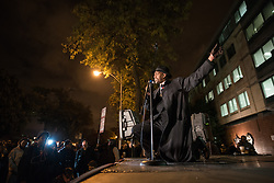 October 20, 2016 - Chicago, United States - Activist Eric Russell speaks on behalf of police shooting victims during a Laquan Day rally in Chicago on October 20, 2016. Over 200 people gathered outside Chicago Police Headquarters to commemorate the life of 17-year-old police shooting victim Laquan McDonald on the two year anniversary of his death. (Credit Image: © Max Herman/NurPhoto via ZUMA Press)