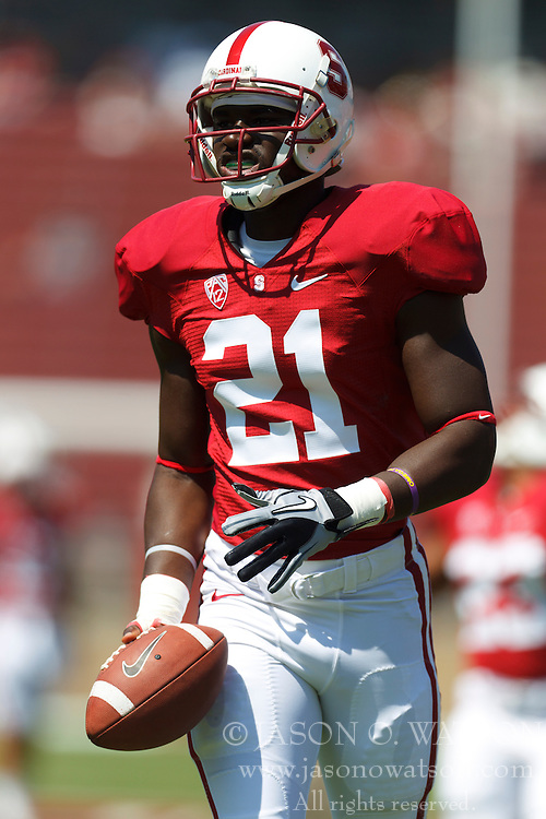 September 3, 2011; Stanford, CA, USA;  Stanford Cardinal wide receiver Jamal-Rashad Patterson (21) warms up before the game against the San Jose State Spartans at Stanford Stadium.  Stanford defeated San Jose State 57-3.