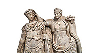 Close up of Roman Sebasteion relief  sculpture of Nero being crowned emperor by Agrippina, Aphrodisias Museum, Aphrodisias, Turkey.     Against a white background.<br /> <br /> Agrippina crowns her young son Nero with a laurel wreath. She carries a cornucopia, a symbol of Fortune and Plenty, and he wears the armour and cloak of a Roman commander, with a helmet on the ground near his feet. The scene refers to Nero's accession as emperor in AD 54, and belongs before AD 59 when Nero had Agrippina murdered. .<br /> <br /> If you prefer to buy from our ALAMY STOCK LIBRARY page at https://www.alamy.com/portfolio/paul-williams-funkystock/greco-roman-sculptures.html . Type -    Aphrodisias     - into LOWER SEARCH WITHIN GALLERY box - Refine search by adding a subject, place, background colour, museum etc.<br /> <br /> Visit our ROMAN WORLD PHOTO COLLECTIONS for more photos to download or buy as wall art prints https://funkystock.photoshelter.com/gallery-collection/The-Romans-Art-Artefacts-Antiquities-Historic-Sites-Pictures-Images/C0000r2uLJJo9_s0