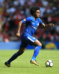 """Chelsea's da Silva Willian during the Community Shield at Wembley, London. PRESS ASSOCIATION Photo. Picture date: Sunday August 6, 2017. See PA story SOCCER Community Shield. Photo credit should read: Nigel French/PA Wire. RESTRICTIONS: EDITORIAL USE ONLY No use with unauthorised audio, video, data, fixture lists, club/league logos or """"live"""" services. Online in-match use limited to 75 images, no video emulation. No use in betting, games or single club/league/player publications."""