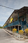 Iban longhouse buit 1980's housing 150 people in 14 families, Sumbiling Lama, Temburong, Brunei
