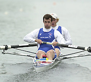 2002 FISA World Cup. Hazewinkel. BEL.       Friday  14/06/2002     .email images@Intersport-images.com.[Mandatory Credit: Peter Spurrier/Intersport Images]  .                                 /06/2002.Rowing    .LM2- GBR  Garth Ireland bow and Nick Strange Rowing, FISA WC.Hazenwinkel, BEL