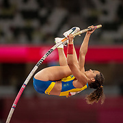 TOKYO, JAPAN:  August 5:   Angelica Bengtsson of Sweden in action in the pole vault final for women during the Track and Field competition at the Olympic Stadium  at the Tokyo 2020 Summer Olympic Games on August 5, 2021 in Tokyo, Japan. (Photo by Tim Clayton/Corbis via Getty Images)