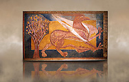 Romanesque frescoes of a Griffen typical of Catalan Court painting from 1200. From the ancient monastery of San Pedro de Arlanza, Buros, Spain. Painted around 1210. National Art Museum of Catalonia, Barcelona. MNAC 40142 .<br /> <br /> If you prefer you can also buy from our ALAMY PHOTO LIBRARY  Collection visit : https://www.alamy.com/portfolio/paul-williams-funkystock/romanesque-art-antiquities.html<br /> Type -     MNAC     - into the LOWER SEARCH WITHIN GALLERY box. Refine search by adding background colour, place, subject etc<br /> <br /> Visit our ROMANESQUE ART PHOTO COLLECTION for more   photos  to download or buy as prints https://funkystock.photoshelter.com/gallery-collection/Medieval-Romanesque-Art-Antiquities-Historic-Sites-Pictures-Images-of/C0000uYGQT94tY_Y