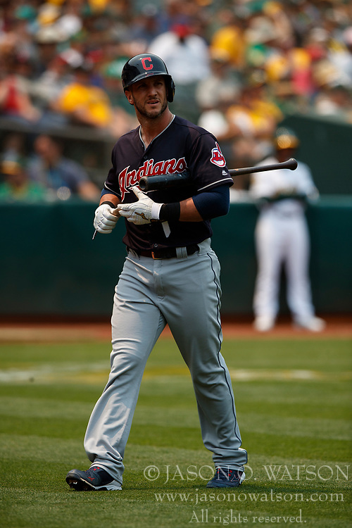 OAKLAND, CA - JULY 01:  Yan Gomes #7 of the Cleveland Indians returns to the dugout after striking out against the Oakland Athletics during the fourth inning at the Oakland Coliseum on July 1, 2018 in Oakland, California. The Cleveland Indians defeated the Oakland Athletics 15-3. (Photo by Jason O. Watson/Getty Images) *** Local Caption *** Yan Gomes