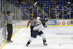 11 November 2006: Alex Goupil winds up for a long shot at the goal.&#xD;The Elmira Jackals met the Bloomington PrairieThunder at the U.S. Cellular Coliseum in Bloomington Illinois.<br />