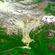 The Valley of Ten Thousand Smokes is within Katmai National Park, Alaska, and is filled with ash flows from the 1912 eruption of Novarupta. July 2004.