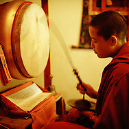 Ritual of Mahakala, this puja (melodious ritual) is a very powerful prayer meant to eliminate obstacles and to pacify evil spirits - Karma Drubgyu Thargay Ling, near Dharamsala, India, 2013