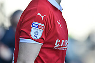 SKY BET sleeve patch during the EFL Sky Bet League 1 match between Portsmouth and Barnsley at Fratton Park, Portsmouth, England on 23 February 2019.
