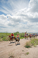 """MEXICO, Chihuahua, July 12-19, 2010. Undaunted by blistering desert temperatures, the 15th annnual """"Cabalgata Villista,"""" an epic horse trek from Ciudad Juarez, Chihuahua to Hacienda Canutillo in Durango met with enthusiastic crowds on its route southward through Satevo and Valle de Zaragoza. Armed with fresh horses and a patriotic spirit, new """"jinetes"""" (riders) join the cavalcade from small towns along the way, which welcome the participants of this long dusty journey. Started in 1996 by José Socorro Salcido Gómez, the """"cabalgata"""" in memory of Mexican revolutionary general Pancho Villa has a particular poignancy this bicentennial year. More at MexicoCulturalCalendar.com"""