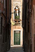 Venetian street in the Castello District. Venice, Italy, Europe