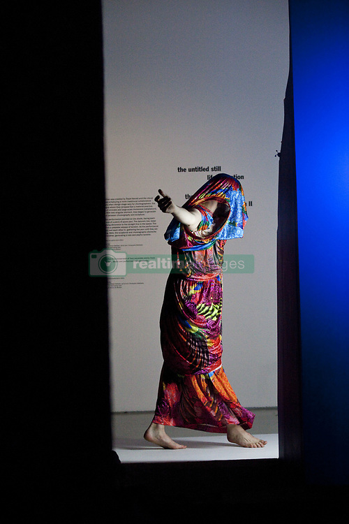 July 19, 2017 - London, UK - Trajal Harrel: Hoochie Koochie.American artist and choreographer Trajal Harrell stages an ambitious performance exhibition at The Barbican Art Gallery. The space becomes an immersive space, where eighteen dancers, including Harrell, showcase 14 of his innovative works. Visitors are able to weave through these live performances making their own route through the gallery space. Emotional and exhilarating, the performances explore ideas around the body, gender, race, sexuality and culture, Barbican Gallery, London, UK. (Credit Image: © Veronika Lukasova via ZUMA Wire)