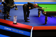 the new Ray Reardon trophy is seen during the match as Stuart Bingham plays a shot. Coral Welsh Open Snooker 2017, final match, Judd Trump of England v Stuart Bingham of England at the Motorpoint Arena in Cardiff, South Wales on Sunday 19th February 2017.<br /> pic by Andrew Orchard, Andrew Orchard sports photography.