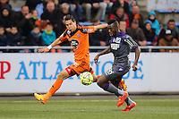 Gianni BRUNO / Steeve YAGO - 18.04.2015 - Lorient / Toulouse - 33eme journee de Ligue 1<br />Photo : Vincent Michel / Icon Sport