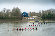 Chiswick, Greater London, 25th January 2020, Surrey Bank crews boating from Putney Town RC., to compete in the Quintin Head Race, Hammersmith to Chiswick, River Thames,  [Mandatory Credit: Peter SPURRIER/Intersport Images],
