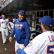 NEW YORK, NEW YORK - May 21:  Matt Harvey #33 of the New York Mets talking with Kevin Long #57 of the New York Mets in the dugout during the Milwaukee Brewers Vs New York Mets regular season MLB game at Citi Field on May 21, 2016 in New York City. (Photo by Tim Clayton/Corbis via Getty Images)