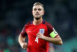 Jordan Henderson of England wears the captains armband in Wayne Rooney's absence from the starting eleven in Slovenia - Mandatory by-line: Robbie Stephenson/JMP - 11/10/2016 - FOOTBALL - RSC Stozice - Ljubljana, England - Slovenia v England - World Cup European Qualifier