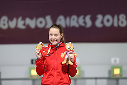 BUENOS AIRES, Oct. 9, 2018  Stephanie Laura Scurrah Grundsoee of Denmark poses with the medal during the awarding ceremony of the women's 10m air rifle final at the 2018 Summer Youth Olympic Games in Buenos Aires, Argentina on Oct. 8, 2018. Stephanie Laura Scurrah Grundsoee won the gold with 248.7 points. (Credit Image: © Li Ming/Xinhua via ZUMA Wire)