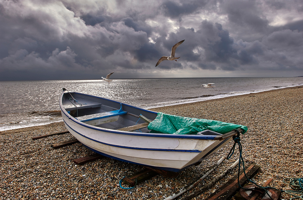 BY THE SEA - DUNWICH - colour photo art by Paul Williams of the wild heritage coast of Suffolk deserted in the winter