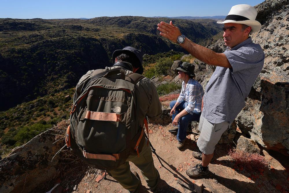 Supervisory board member Professor Henrique Pereira points out the way forward, in the Faia Brava reserve, Coa valley, Portugal, Western Iberia rewilding area