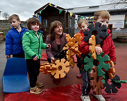 Pictured: Maree Todd meets nursery children from Inverkeithing.<br /> <br /> Minister for Children and young people Maree Todd launched the Scottish Government's new national standards for childcare and early years providers on a visit to the Treetop Family Centre in Inverkeithing.<br /> <br /> © Dave Johnston / EEm