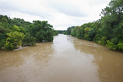 View of flooded Trinity River from Loop 12, Dallas, Texas, USA.