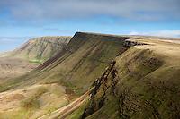 View from Waun Lefrith along Carmarthen Fans - Bannau Sir Gaer towards Picws Du, Black Mountain, Brecon Beacons national park, Wales