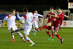 RHYL, WALES - Tuesday, March 18, 2014: Wales' Liam Cullen in action against Poland during the Under-15's International Friendly match at Belle Vue. (Pic by David Rawcliffe/Propaganda)