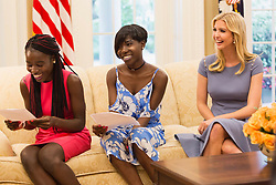 """Ivanka Trump releases a photo on Twitter with the following caption: """"""""Honored to have welcomed Joy & Lydia from Chibok, Nigeria to the White House last week. Thank you for inspiring us with your story."""""""". Photo Credit: Twitter *** No USA Distribution *** For Editorial Use Only *** Not to be Published in Books or Photo Books ***  Please note: Fees charged by the agency are for the agency's services only, and do not, nor are they intended to, convey to the user any ownership of Copyright or License in the material. The agency does not claim any ownership including but not limited to Copyright or License in the attached material. By publishing this material you expressly agree to indemnify and to hold the agency and its directors, shareholders and employees harmless from any loss, claims, damages, demands, expenses (including legal fees), or any causes of action or allegation against the agency arising out of or connected in any way with publication of the material."""
