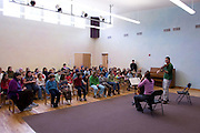 Viollist Burchard Tang and cellist Priscilla Lee, participants in the Kingston Chamber Music Fesatival, perform for children at the Meadowbrook School in Kingston, Rhode Island.