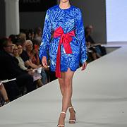 Designer Elizabeth Midwinter showcases lastest collection of Bath Spa University at the Graduate Fashion Week 2018, 4 June 4 2018 at Truman Brewery, London, UK.