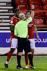 Yuri Ribeiro of Nottingham Forest is shown a red card and sent off - Mandatory by-line: Robbie Stephenson/JMP - 20/01/2021 - FOOTBALL - City Ground - Nottingham, England - Nottingham Forest v Middlesbrough - Sky Bet Championship