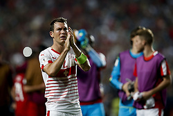 October 10, 2017 - Lisbon, Portugal - Switzerland's defender Stephan Lichtsteiner applauds the supporters at the end of the FIFA World Cup WC 2018 football qualifier match between Portugal and Switzerland, in Lisbon, on October 10, 2017. (Credit Image: © Carlos Palma/NurPhoto via ZUMA Press)