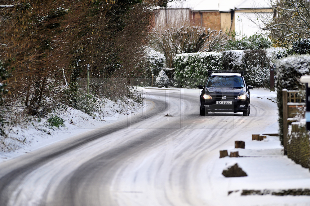 © Licensed to London News Pictures.27/02/2018<br /> Halstead, UK.<br /> Snow on Watercroft Road in Halstead,Kent<br /> Photo credit: Grant Falvey/LNP
