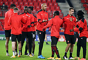 Steven Nzonzi of Stade Rennais and teammates during the warm-up before the UEFA Champions League, Group E football match between Stade Rennais and Chelsea on November 24, 2020 at Roazhon Park in Rennes, France - Photo Jean Catuffe / ProSportsImages / DPPI