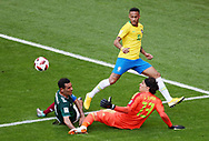 Neymar of Brazil and Rafael Marquez, Guillermo Ochoa of Mexico during the 2018 FIFA World Cup Russia, round of 16 football match between Brazil and Mexico on July 2, 2018 at Samara Arena in Samara, Russia - Photo Tarso Sarraf / FramePhoto / ProSportsImages / DPPI
