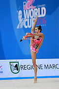 Zeng Laura  during final at clubs in Pesaro World Cup 03 April 2016. Laura was born in Hartford, Connecticut in October 14, 1999. She is an American individual rhythmic gymnast.