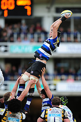 Luke Charteris of Bath Rugby wins the ball at a lineout - Mandatory byline: Patrick Khachfe/JMP - 07966 386802 - 04/03/2017 - RUGBY UNION - The Recreation Ground - Bath, England - Bath Rugby v Wasps - Aviva Premiership.