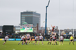 Dragons' Joseph Davies claims the lineout<br /> <br /> Photographer Simon King/Replay Images<br /> <br /> Guinness Pro14 Round 11 - Dragons v Cardiff Blues - Tuesday 26th December 2017 - Rodney Parade - Newport<br /> <br /> World Copyright © 2017 Replay Images. All rights reserved. info@replayimages.co.uk - www.replayimages.co.uk