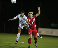2011 FIFA Women's World Cup Qualifying match, Wales v Czech Republic at Stebonheath Park, Llanelli on Wed 23rd September 2009. pic by Andrew Orchard..Lauren Townsend of Wales is tackled by Markova (9)