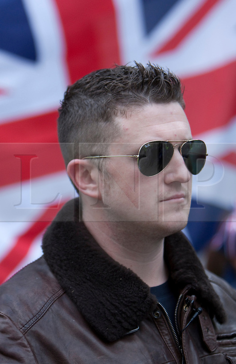 © Licensed to London News Pictures. 17/04/2012. London, U.K..Tommy Robinson, The EDL leader. The English Defence League (EDL) hold a demonstration outside The Houses Of Parliament and the Home Office to protest at alleged 'government inaction' and 'lack of political will' to deport radicals like Abu Qatada. Anti- Fascist protesters also held a counter protest on the other side of the entrance to the Home Office building..Photo credit : Rich Bowen/LNP